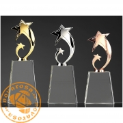 Optycal glass and iron design trophy - Star