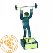 Brass design figure - Weightlifting