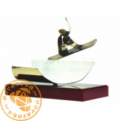 Brass design figure - Snowboard