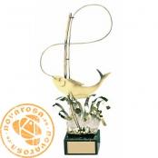 Brass design figure - Fishing
