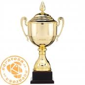 Copa clásica dorada con tapa y asas