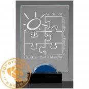 Placa de homenaje de diseño en cristal óptico